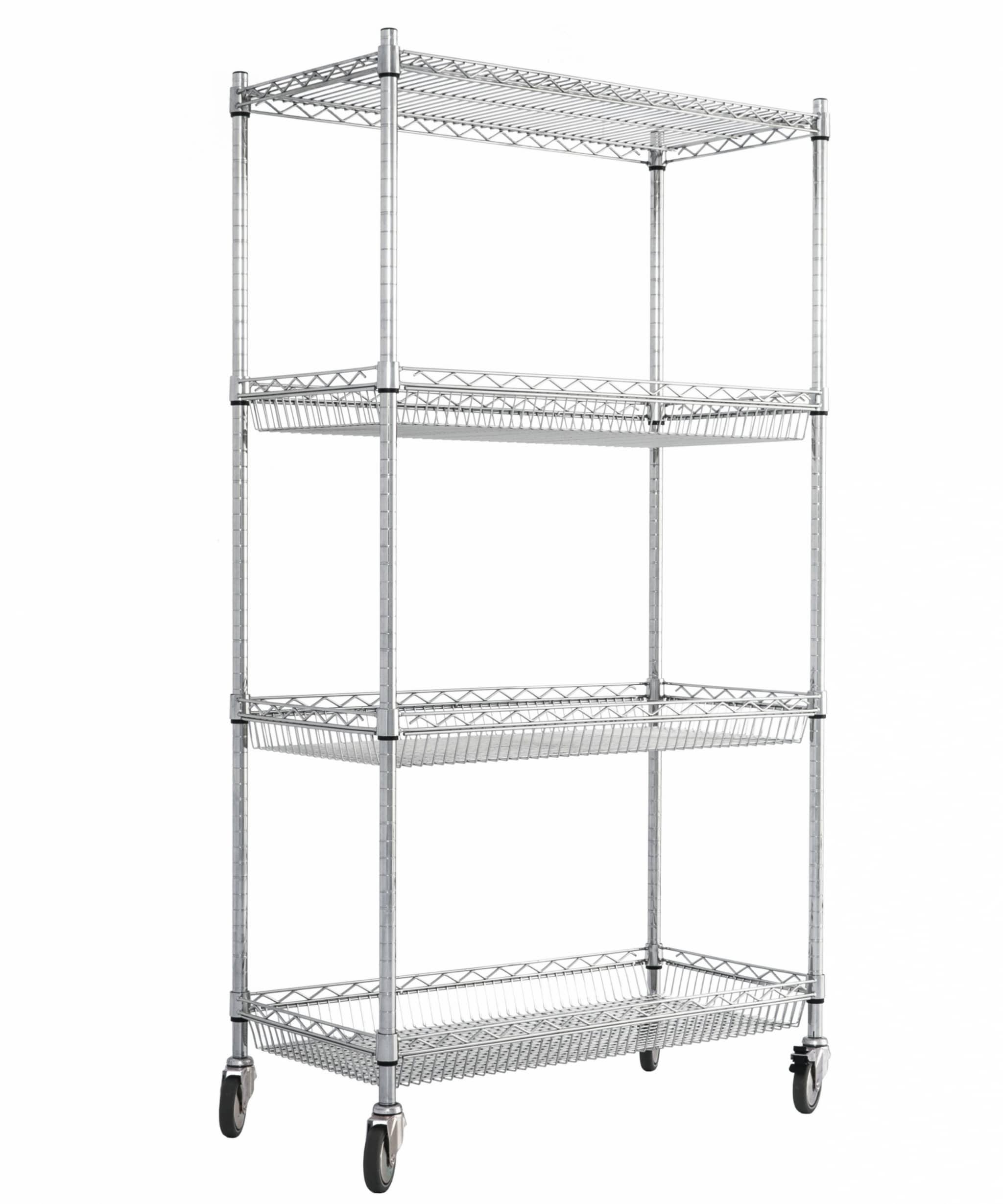 Chrome Wire Trolley Basket Shelves