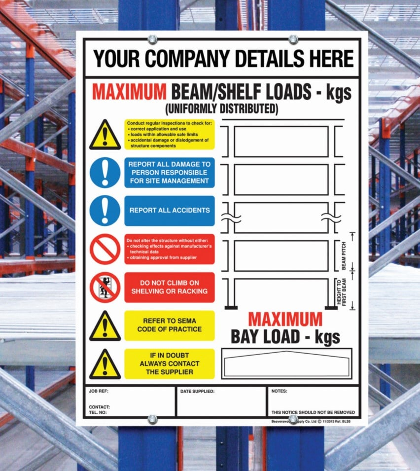 weight loadings Warehouse Labelling